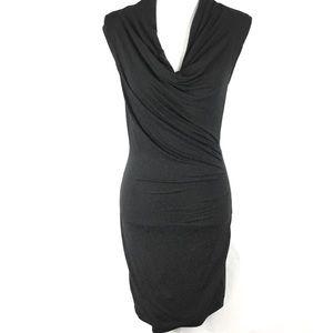 Tart Black Dress Small Ruched Draped Sleeveless